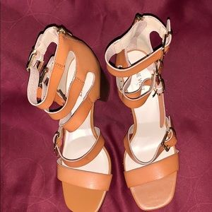 Tan, multi strapped sandals